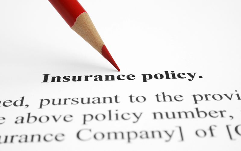 "Document with the words ""Insurance Policy"" pointed by red pencil."